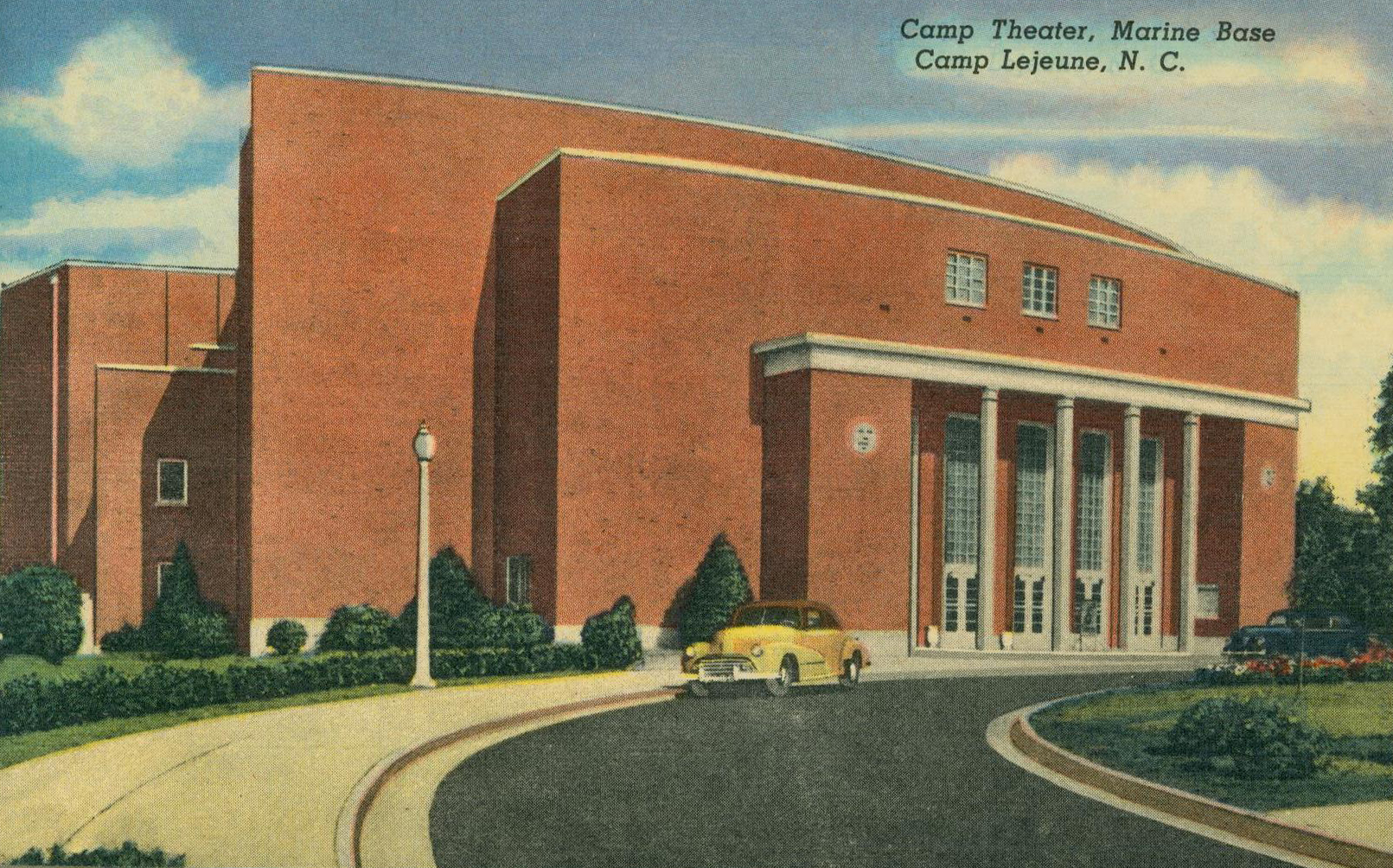 Historic Postcard Featuring The Camp Theater At Marine Corps Base Camp Lejeune Us Marine Corps