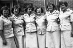 "Women Marines platoon, 1944 - Group photo of the ""simple six,"" members of Mary McLeod Roger's boot camp platoon at Camp Lejeune, North Carolina, in spring of 1944. Marines (standing left to right) Frances Stir, Jeanne Sincerbeaux, Mary McLeod, Rosemary Keeleher, Marcia Moore, and Anne Condon all wear the white short-sleeved summer uniform and spruce green garrison cap.  Mary McLeod Rogers Papers Collection (WV0134.6.004), Betty H. Carter Women Veterans Historical Project, University of North Carolina at Greensboro, NC."