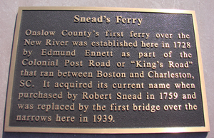 Snead's Ferry Gate Historic Marker