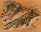 """This Way to Recovery"" - While his comrades keep up a steady fire to discourage enemy marksmen, a Navy hospital corpsman drags a ""casualty"" to comparative safety in a foxhole. This is one of the grimly realistic portraits drawn at Camp Lejeune where Navy corpsmen are in training."