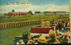 Historic postcard featuring Marines passing in review at Marine Corps Base Camp Lejeune (US Marine Corps Archives)