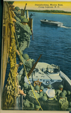 Historic postcard featuring men disembarking a ship, Marine Corps Base Camp Lejeune (US Marine Corps Archives)