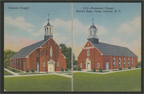 Historic postcard featuring the Catholic Chapel and Protestant Chapel at Marine Corps Base Camp Lejeune (US Marine Corps Archives)